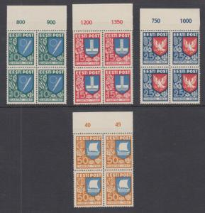 Estonia Sc B46-B49 MNH. 1940 Coat of Arms, matched sheet margin blocks of 4, VF