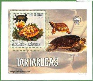 A0542 - S. TOME' & PRINCIPE - ERROR  MISSPERF SHEET -  Turtles BOY SCOUTS  2005