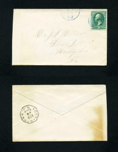 Cover from Crosswicks, New Jersey to Blue Bell, Pennsylvania dated 8-14-1882