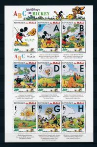 [25075] Mali 1996 Disney Mickey Mouse Pluto Alphabet A to H Sheet MNH