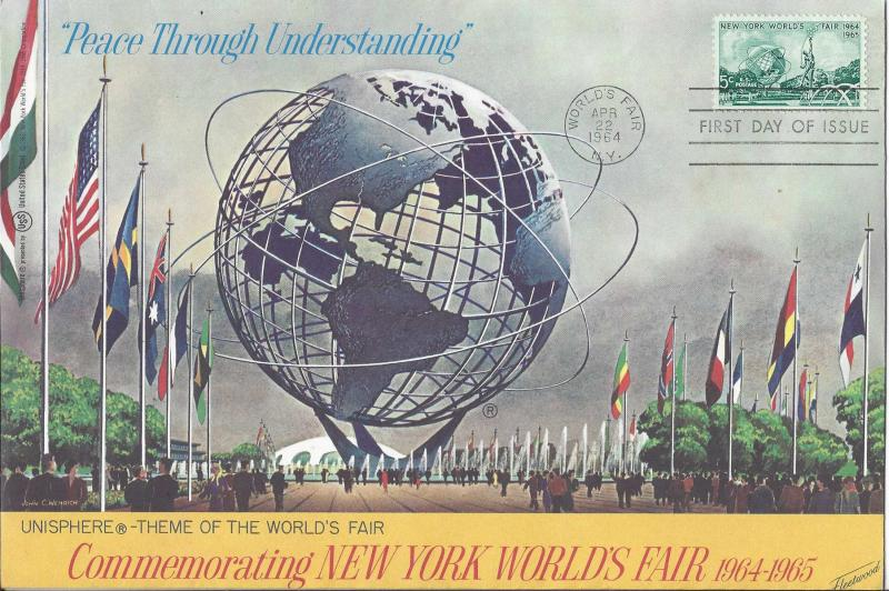 Catalog # 1244 FDC 6x9 inch envelope NY Worlds Fair 1964 by USS cachet US Steel