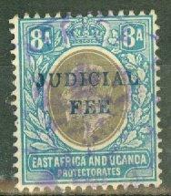 B: East Africa & Uganda revenue used, Scott #8 overprinted JUDICIAL FEE CV ??