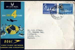 Singapore 1959 BOAC Comet 4 Jetliner Airmail to London First Flight