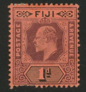 FIJI Scott 71 MH* 1904 red 1p KEVII faulty stamp CV$30