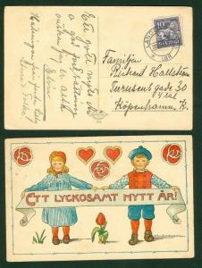 Sweden.  New Year Card 1920es Used Cancel: Landskrona