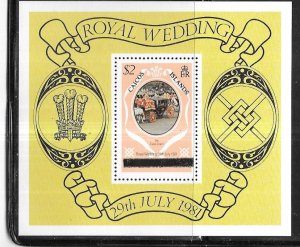 Turks & Caicos Islands #489 $2 Royal Wedding (MNH) S/S CV$1.25