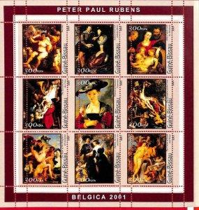 A0856 - GUINEA-BISSAU - ERROR  MISSPERF SHEET - ART Painters: RUBENS  2001