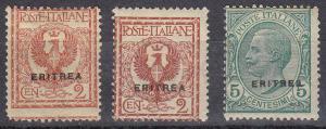 Eritrea Italian Types J Ovpt (Scott #88-90) MH
