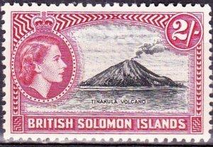 BRITISH SOLOMON ISLANDS 1956 QEII 2/- Black & Carmine SG92 MH