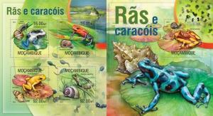 Mozambique 2013 reptiles frogs animals of africa kbl+s/s MNH