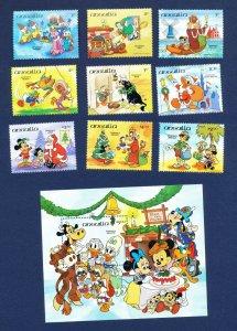 ANGUILLA - #596-605 & 603A - VF MNH set & S/S - Disney Christmas - 1984