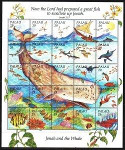 Palau. 1993. Small sheet 561-85. Whales, fauna, fish. MNH.