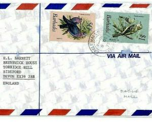 BARBADOS Cover *EAGLE HALL* 1979 Registered Air Mail BIRDS {samwells}CP56