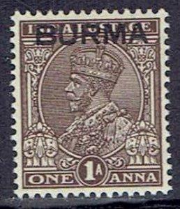 Burma, Scott #4; Overprinted 1a King George V, MLH