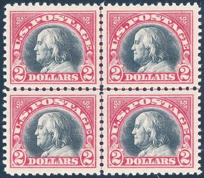 #547 XF-SUPERB NH GEM -- CENTERLINE BLOCK OF 4 WL2637