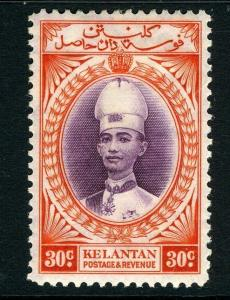 MALAYA (KELANTAN)-1937-40 30c Violet & Scarlet Sg 49  MOUNTED MINT V7946