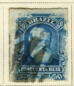 BRAZIL; 1878 early classic Pedro issue fine used 50r. value