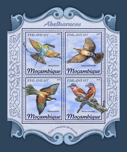 MOZAMBIQUE - 2018 - Bee-Eaters - Perf 4v Sheet- MNH