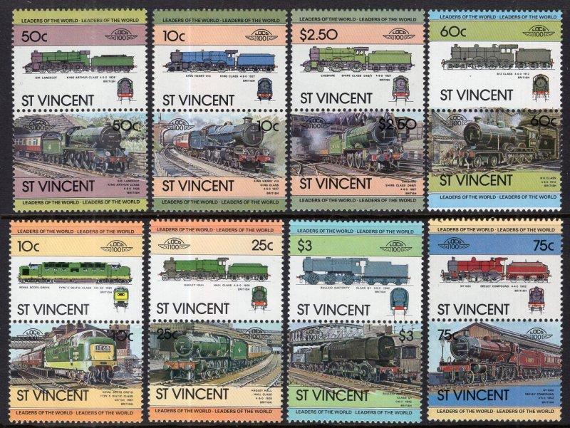 St. Vincent MNH 699-706 Pairs Trains 1983 SCV 3.00