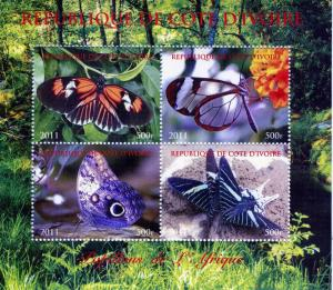 Butterflies of AFRICA Sheet (4) Perforated Mint (NH)