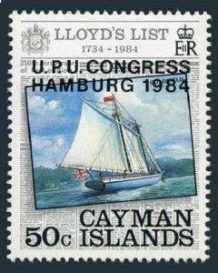 Cayman 527,lightly hinged.Michel 531. UPU CONGRESS HAMBURG 1984.Lloyd's List.