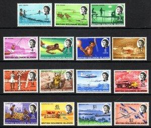 BR SOLOMON IS...1968-71  SG 166-80   set         mnh um   cv £20.00
