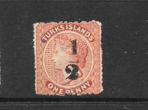 TURKS ISLANDS  1881   1/2 on 1d  QV  MLH        SG 21