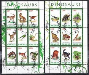 Rwanda, 2009 Cinderella issue. Dinosaurs on 2 sheets of 9. Canceled, C.T.O.