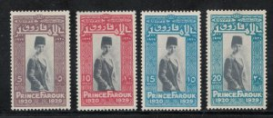 Egypt 1929 9th Birthday of Prince Farouk Scott # 155 - 158 MH