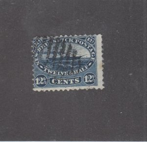 NEW BRUNSWICK # 10 F-USED 12 1/2cts 1860 STEAMSHIP /BLUE /CENTS ISSUE CV $50
