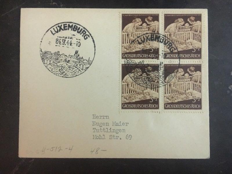 1944 Luxembourg Germany Registered Cover To Tuttlingen