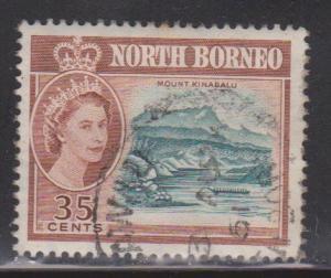 NORTH BORNEO Scott # 289 Used - QEII & Mount Kinabalu # 1