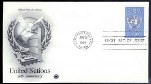 UNITED STATES FDC 32¢ United Nations 1995 Postal Society