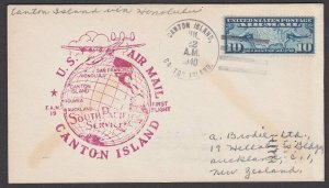 GILBERT & ELLICE IS US PO 1940 first flight cover Canton Is to Honolulu.....Q514