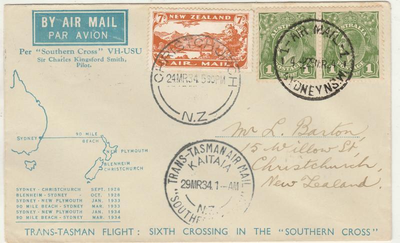 AUSTRALIA NEW ZEALAND 1934 KGV TRANS-TASMAN AIRMAIL COVER KINGSFORD SMITH