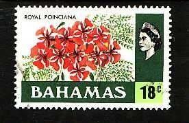 Bahamas-Sc#325- id8-used 18c Royal Poinciana -Flowers-1971-