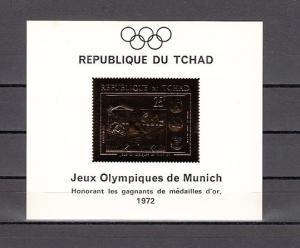 Chad, Scott cat. 236 E. Munich Olympics, Gold Foil Deluxe s/sheet. Swimmer.