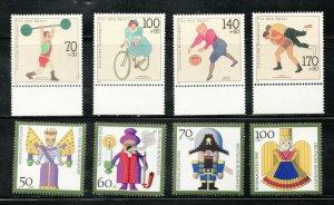 B697-704  -  Germany Christmas / Sports sets - 1990 - MNH VF -  superfleas cv$13