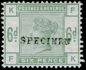 SG194s, 6d dull green, M MINT. Cat £220. SPECIMEN. FK