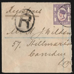 LABUAN 1891 '6 cents' in red on QV 8c mauve on part Registered cover