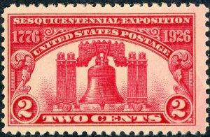 #627 – 1926 2c Sesquicentennial Exposition. MNH OG Fine