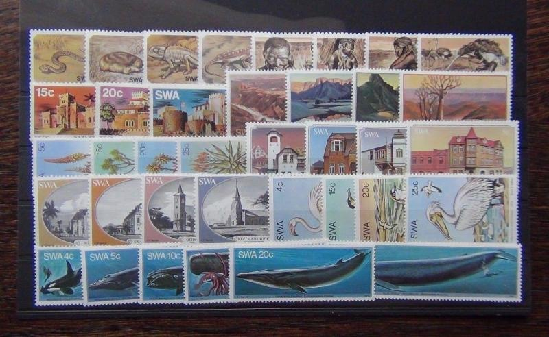 South West Africa 1976 1982 sets Birds Whales Canyon Aloes Bushmen Churches MNH