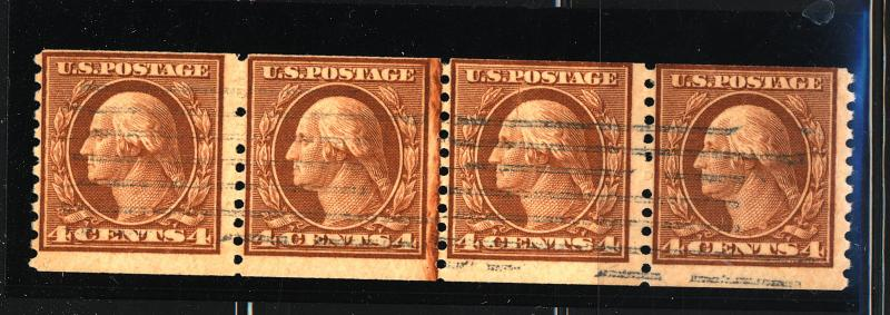495 Used Line Pair Strip of 4 Fine