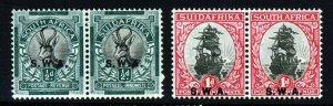 SOUTH WEST AFRICA 1930-31 ½d. & 1d. Opts P.15x14 Bilingual Pairs SG 68 & 69 MINT