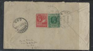LEEWARD ISLANDS  (P1104B) 1921 KGV 1/2D+ANTIGUA 1D MIX FRANK VIA BARBADOS TO BG