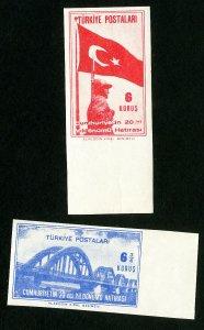 Turkey Stamps # 933-4 XF Imperf set OG NH