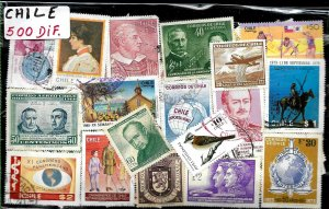 CHILE 500 DIFFERENT STAMPS COLLECTION MNH/USED LOT SELECTED PACKET