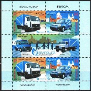 Belarus. 2013. bl 100. Postal transport, europa-sept. MNH.