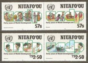 TONGA NIUAFO'OU Sc# 134 - 135 MNH FVF Set2 x Pair World Development