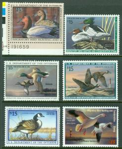 EDW1949SELL : USA 1993-1997, 2003 Scott #RW60-64, 70 All Very Fine, MNH Face $90